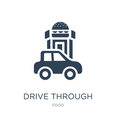 drive through icon vector on white background, drive through tre