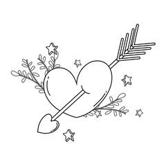 heart love card with arrow