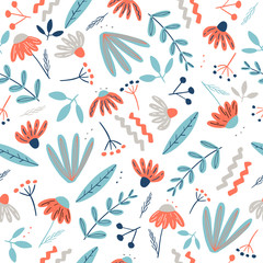 Abstract seamless pattern with creative chamomile flowers and decorative elements in scandinavian style. Floral background for print, brochure, creative poster, summer, spring, fabric, textile. Vector
