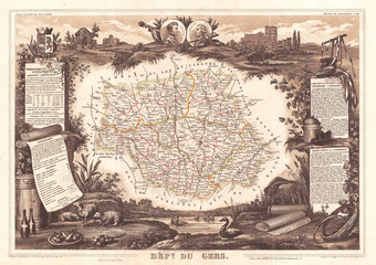 Wall Mural - 1852, Levasseur Map of the Department du Gers, France, Armagnac Region