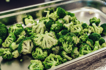 Prepared Broccoli in Plastic Container for Wedding Meal - Kitchen Set