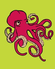 Red and beige octopus on green background. Pop art illustration. Surreal concept