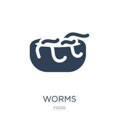 worms icon vector on white background, worms trendy filled icons