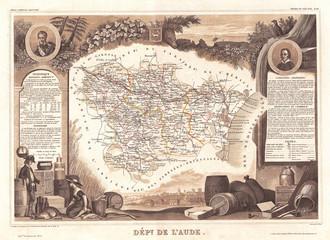 1852, Levasseur Map of the Department L'Aude, France