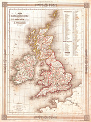 Fototapete - 1852, Vuillemin Map of the British Isles, England, Ireland, Scotland