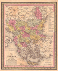 1853, Mitchell Map of Turkey in Europe and Greece, Greece, Balkans, Macedonia