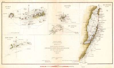 Fototapete - 1853, U.S. Coast Survey Map of Key Biscayne Bay, Key West and the Cedar Keys, Florida