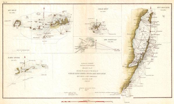 1853, U.S. Coast Survey Map of Key Biscayne Bay, Key West and the Cedar Keys, Florida