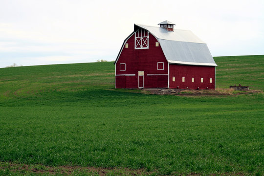 A Red Barn in the wheat field of the Palouse, Washington State, USA