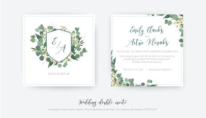 Wedding double invite, invitation, save the date card floral design. Elegant monogram with silver dollar eucalyptus greenery leaves, green branches & creamy powder wax flower wreath. Trendy classy set
