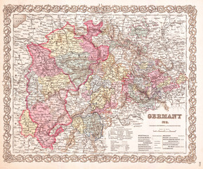 1855, Colton Map of Western Germany, Westphalia, Rheinland