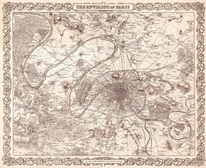 1855, Colton Map or City Plan of Paris, France