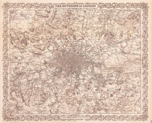 Wall Mural - 1855, Colton Map or Plan of London, England