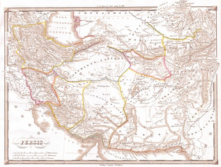 1855, Spruneri Map of Persia, Iran, Iraq, Kuwait