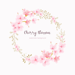 Cherry blossom frame Floral watercolor
