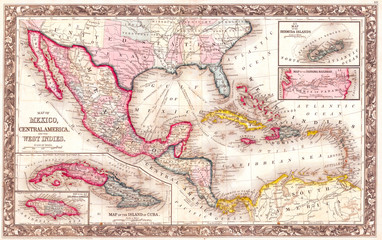 1860, Mitchell's Map of the West Indies, Mexico and Central America