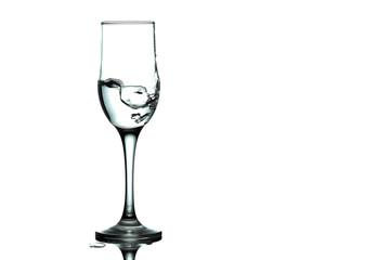 water splash and wine glass. splash alcohol in wine glass