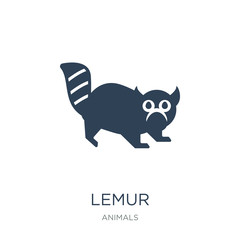 lemur icon vector on white background, lemur trendy filled icons