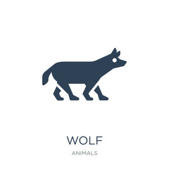 wolf icon vector on white background, wolf trendy filled icons f