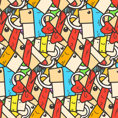 Funny doodle seamless pattern with gift boxes. Cute for prints, cards, designs and coloring books
