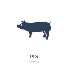 pig icon vector on white background, pig trendy filled icons fro
