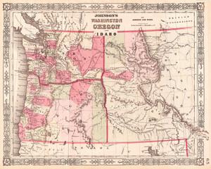 1864, Johnson Map of Washington, Oregon, and Idaho