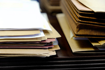 Files and Folders on Desk Work Busy Information
