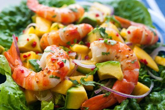 Prawn salad with avocado and mango, close up