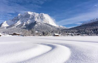Fototapeten Gebirge The Zugspitze Massif from the valley of Ehrwald in sunny winter day. Winter mountain landscape.