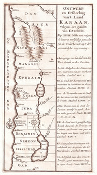 1729, Schryver Map of Israel showing 12 Tribes