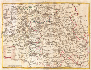 1740, Zatta Map of Central France and the Vicinity of Paris