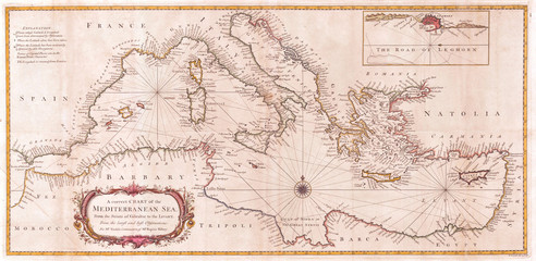 1745, Seale Map or Chart of the Mediterranean Sea