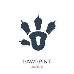 pawprint icon vector on white background, pawprint trendy filled