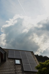 Solar panels on roof of house in Germany