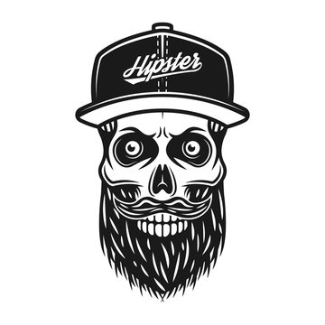 Bearded skull in baseball cap with text hipster
