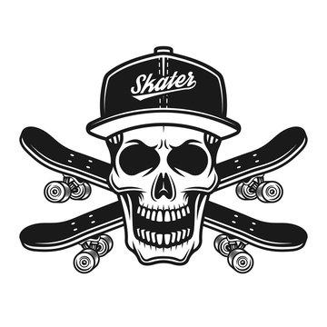 Skater skull in baseball cap and two skateboards