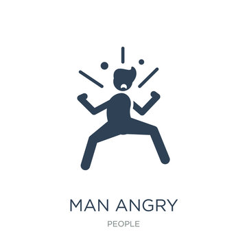 man angry icon vector on white background, man angry trendy filled icons from People collection, man angry vector illustration