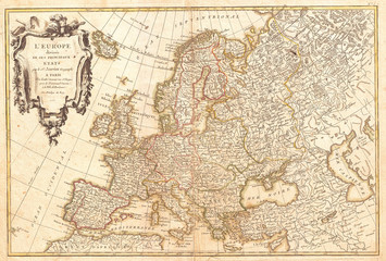 Fototapete - 1762, Janvier Map of Europe