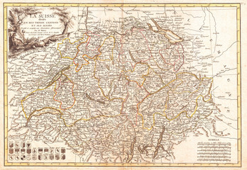 1771, Bonne Map of Switzerland, Rigobert Bonne 1727 – 1794, one of the most important cartographers of the late 18th century