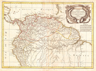 1771, Bonne Map of Tierra Firma or Northern South America, Rigobert Bonne 1727 – 1794, one of the most important cartographers of the late 18th century