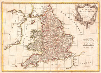 1772, Bonne Map of England and Wales, Rigobert Bonne 1727 – 1794, one of the most important cartographers of the late 18th century