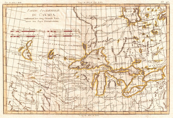 1775, Bonne Map of the Great Lakes and Upper Mississippi, Rigobert Bonne 1727 – 1794, one of the most important cartographers of the late 18th century