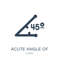 acute angle of 45 degrees icon vector on white background, acute angle of 45 degrees trendy filled icons from Shapes collection, acute angle of 45 degrees vector illustration