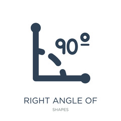 right angle of 90 degrees icon vector on white background, right angle of 90 degrees trendy filled icons from Shapes collection, right angle of 90 degrees vector illustration