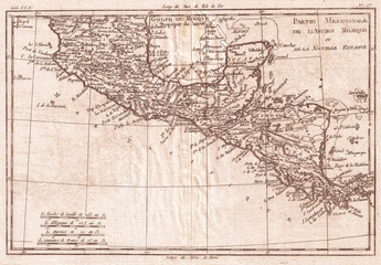 1780, Raynal and Bonne Map of Central America and Southern Mexico, Rigobert Bonne 1727 – 1794, one of the most important cartographers of the late 18th century