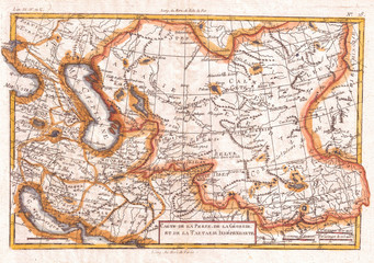 1780, Raynal and Bonne Map of Central Asia, Rigobert Bonne 1727 – 1794, one of the most important cartographers of the late 18th century