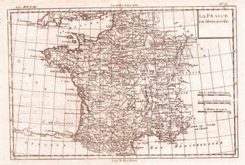 Fototapete - 1780, Raynal and Bonne Map of France, Rigobert Bonne 1727 – 1794, one of the most important cartographers of the late 18th century