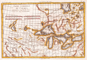 1780, Raynal and Bonne Map of Great Lakes and Upper Mississippi, Rigobert Bonne 1727 – 1794, one of the most important cartographers of the late 18th century