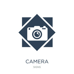 camera icon vector on white background, camera trendy filled icons from Signs collection, camera vector illustration