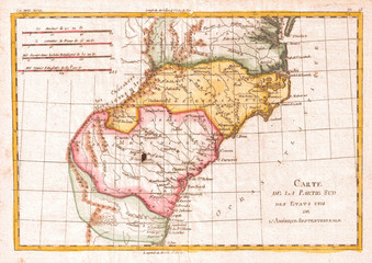 1780, Raynal and Bonne Map of Southern United States, Rigobert Bonne 1727 – 1794, one of the most important cartographers of the late 18th century